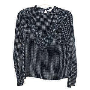 H&M Black White Polka Dot Ruffle Long Sleeve Top 4